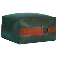Leather Ottoman in Emerald Green, Large — Talabartero Collection