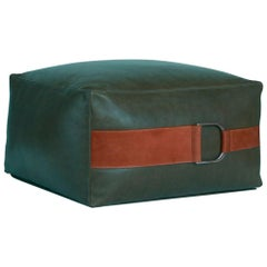 Leather Ottoman in Emerald Green, Small — Talabartero Collection