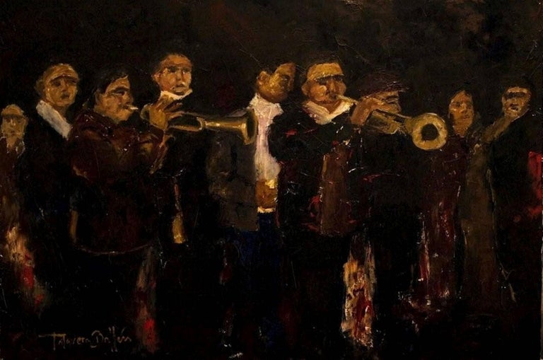 Talavera Ballon Figurative Painting - Musicos, Oil Painting on Canvas