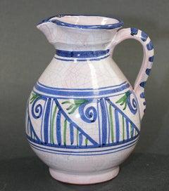 Talavera Pitcher Ceramic Glazed Vase Handcrafted in Spain