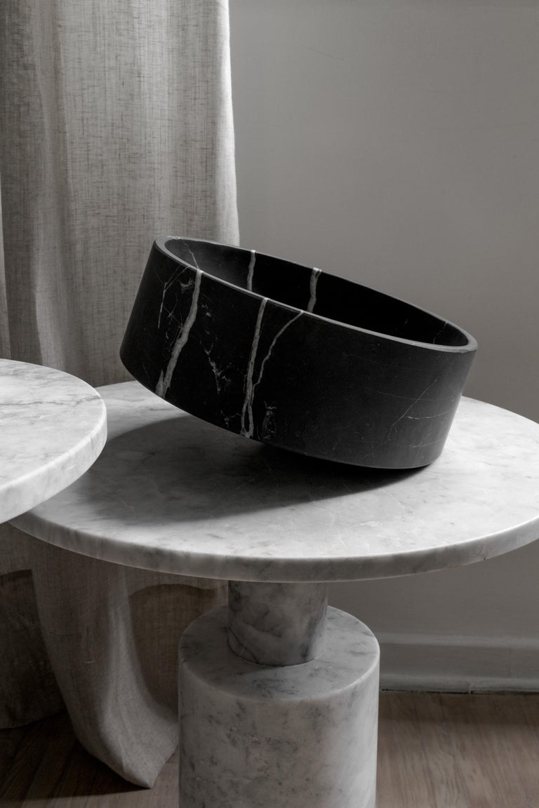 Modern Talayot Black Marble Carved Large Bowl For Sale