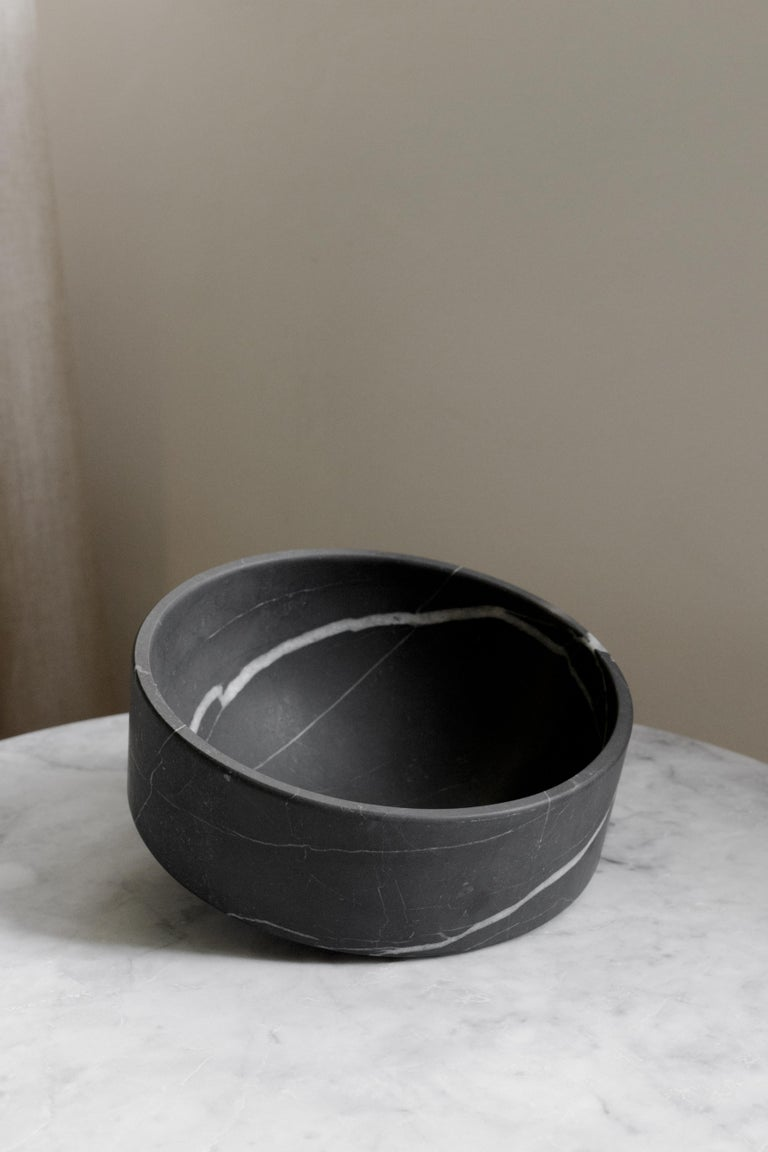 Modern Talayot Black Marble Carved Small Bowl For Sale