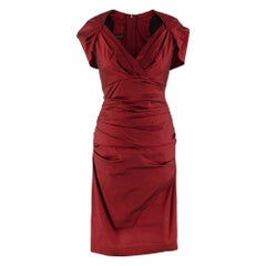 Talbot Runhof Red Ruched Capelet Cap Sleeve Dress - Size US 6