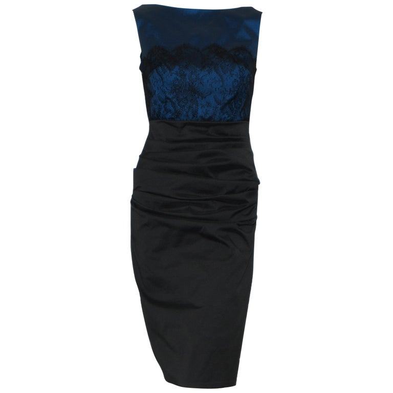 ced79763abeba Talbot Runhof Royal Blue Bodice With Black Lace Overlay Cocktail Dress For  Sale