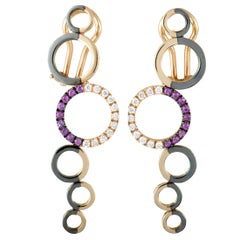 Talento Italiano 18 Karat Rose Gold and Black Rhodium Diamonds and Ruby 6 Circle