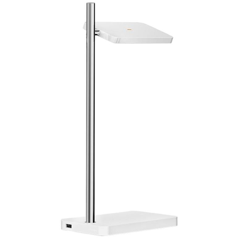 Talia Table Lamp in White Matt/Gloss and Chrome Finish by Pablo Designs