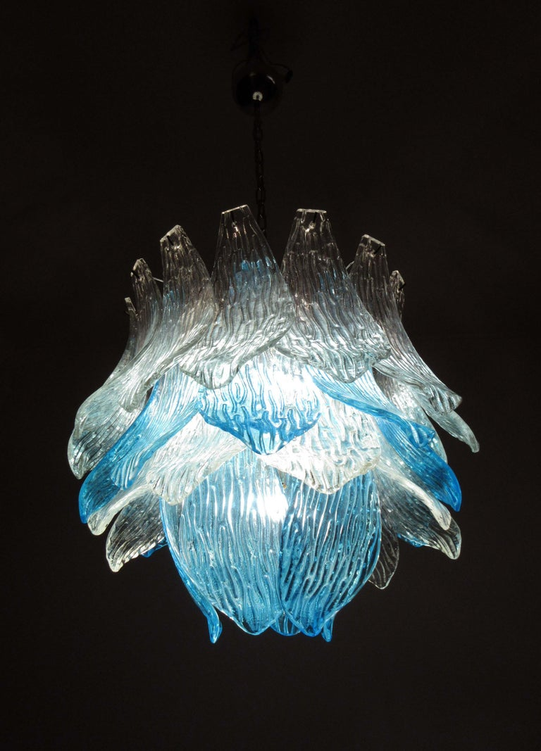 Blown Glass Talian Vintage Murano Glass Chandelier, 38 Glasses, Blue and Trasparent For Sale