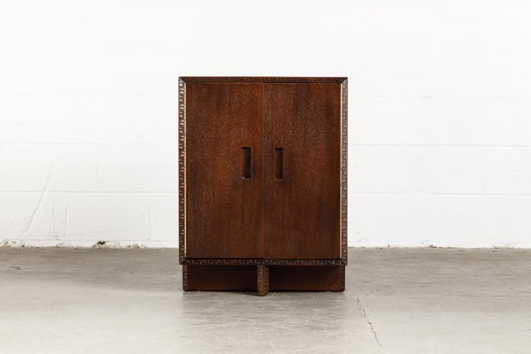 'Taliesin' Collection Mahogany Cabinet by Frank Lloyd Wright, 1955, Signed In Excellent Condition For Sale In Los Angeles, CA