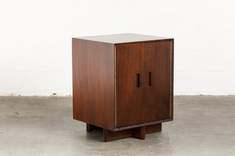 'Taliesin' Collection Mahogany Cabinet by Frank Lloyd Wright, 1955, Signed For Sale 3