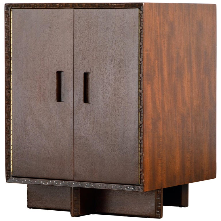 'Taliesin' Collection Mahogany Cabinet by Frank Lloyd Wright, 1955, Signed For Sale