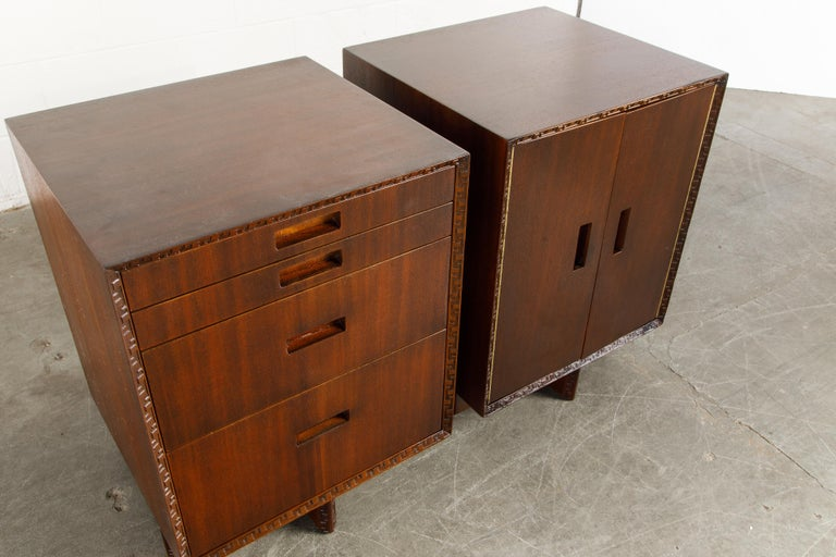 'Taliesin' Collection Mahogany Cabinets by Frank Lloyd Wright, 1955, Signed For Sale 6