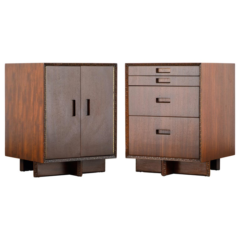 'Taliesin' Collection Mahogany Cabinets by Frank Lloyd Wright, 1955, Signed For Sale