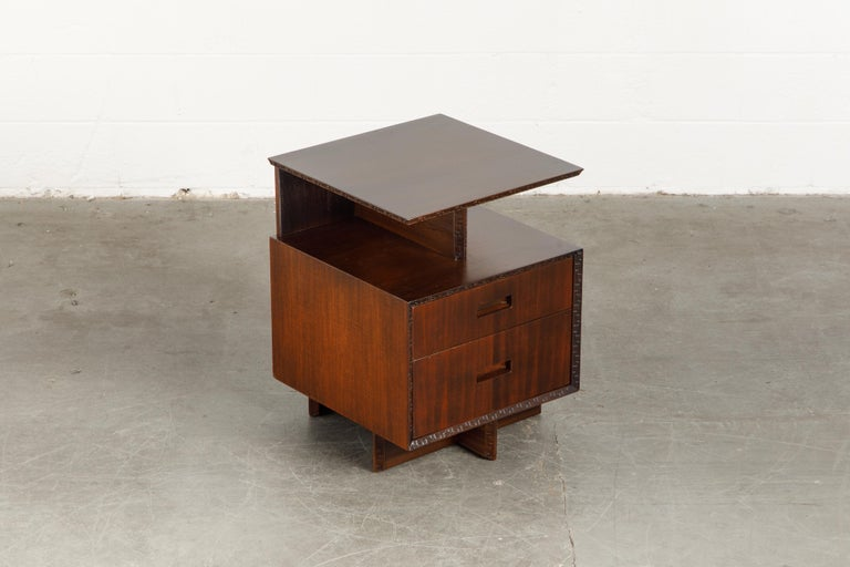 'Taliesin' Collection Platform Nightstand by Frank Lloyd Wright, 1955, Signed For Sale 3