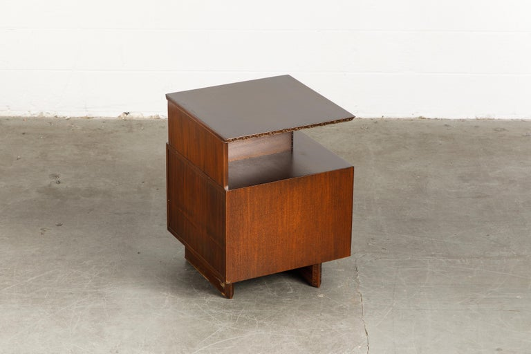 'Taliesin' Collection Platform Nightstand by Frank Lloyd Wright, 1955, Signed For Sale 5