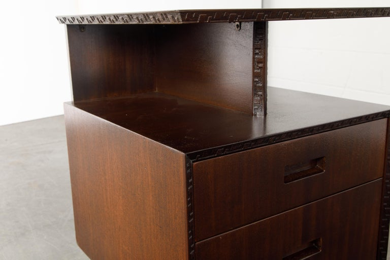 'Taliesin' Collection Platform Nightstand by Frank Lloyd Wright, 1955, Signed For Sale 10