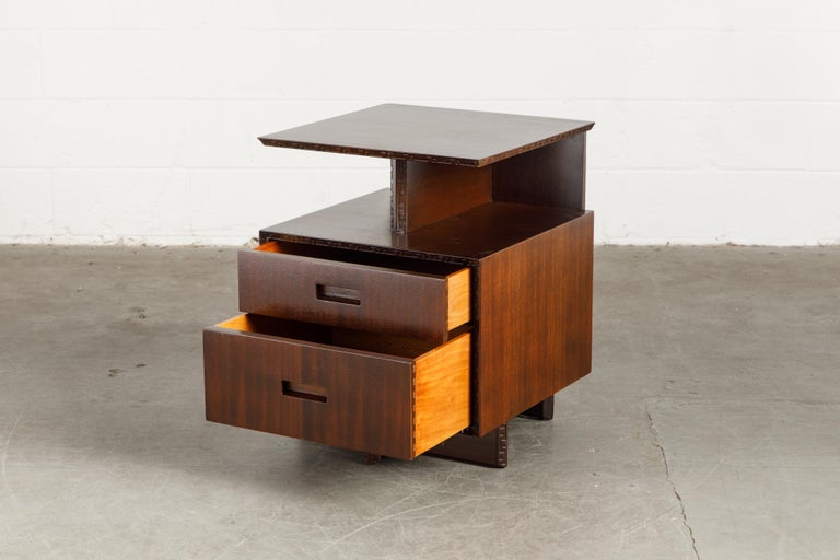 American 'Taliesin' Collection Platform Nightstand by Frank Lloyd Wright, 1955, Signed For Sale