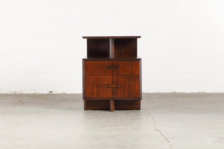 Mid-20th Century 'Taliesin' Collection Platform Nightstand by Frank Lloyd Wright, 1955, Signed For Sale