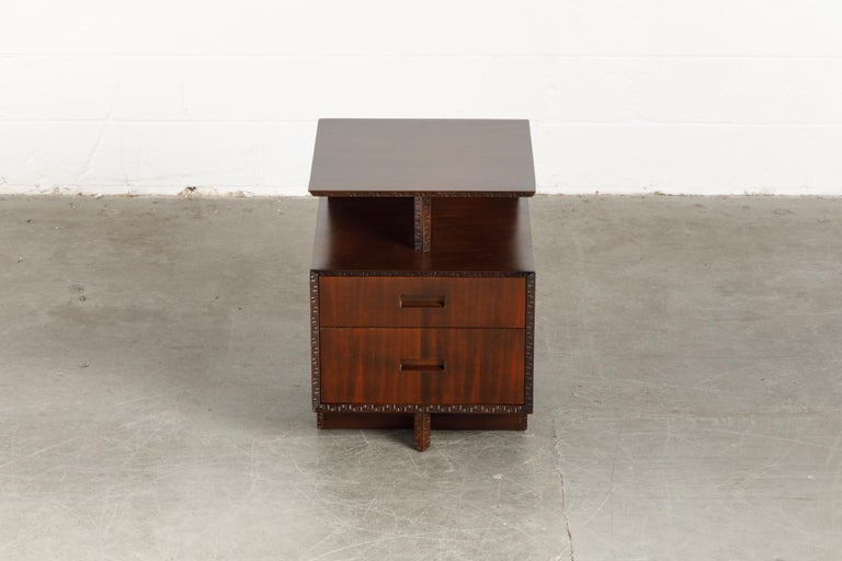 Mahogany 'Taliesin' Collection Platform Nightstand by Frank Lloyd Wright, 1955, Signed For Sale