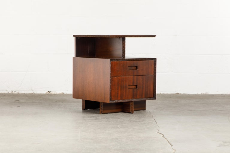 'Taliesin' Collection Platform Nightstand by Frank Lloyd Wright, 1955, Signed For Sale 1