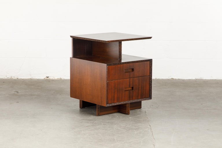 'Taliesin' Collection Platform Nightstand by Frank Lloyd Wright, 1955, Signed For Sale 2