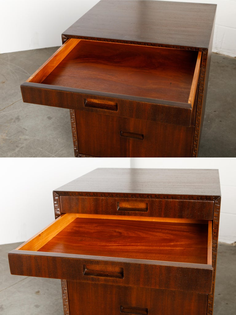 'Taliesin' Mahogany Chest of Drawers by Frank Lloyd Wright, 1955, Signed For Sale 8