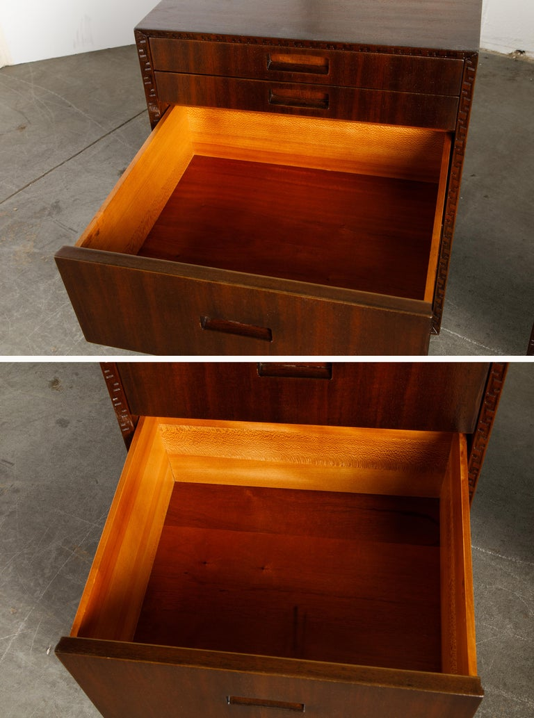 'Taliesin' Mahogany Chest of Drawers by Frank Lloyd Wright, 1955, Signed For Sale 9
