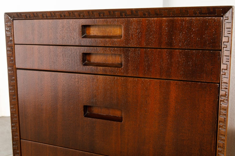 'Taliesin' Mahogany Chest of Drawers by Frank Lloyd Wright, 1955, Signed For Sale 10