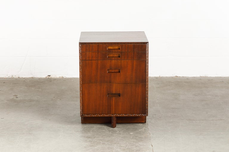 Mid-20th Century 'Taliesin' Mahogany Chest of Drawers by Frank Lloyd Wright, 1955, Signed For Sale