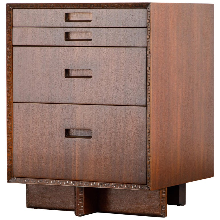 'Taliesin' Mahogany Chest of Drawers by Frank Lloyd Wright, 1955, Signed For Sale