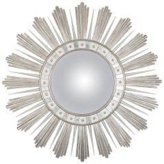 Talisman Convex Mirror Finished in White Gold Leaf