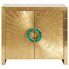 Talitha Brass and Malachite Console Cabinet