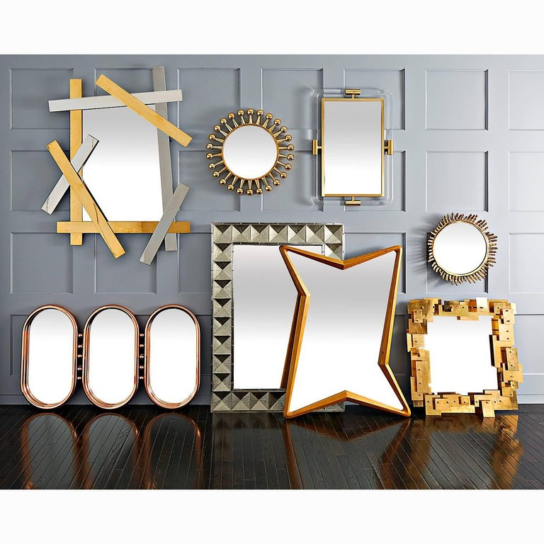 American Talitha Nickel Wall Mirror For Sale