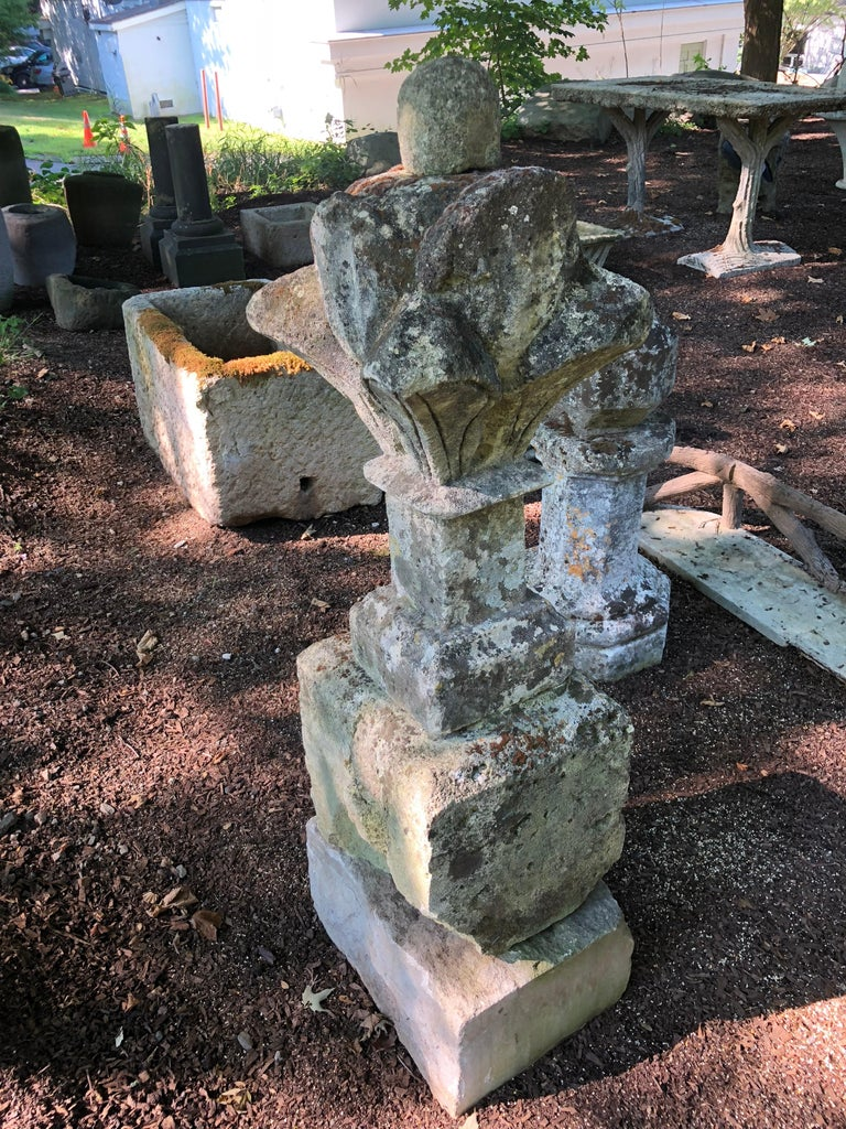 Tall 17th Century French Mossy Elaborately Hand-Carved Limestone Finial For Sale 2