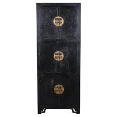 Tall 18th Century Black Lacquer Chinese Cabinet