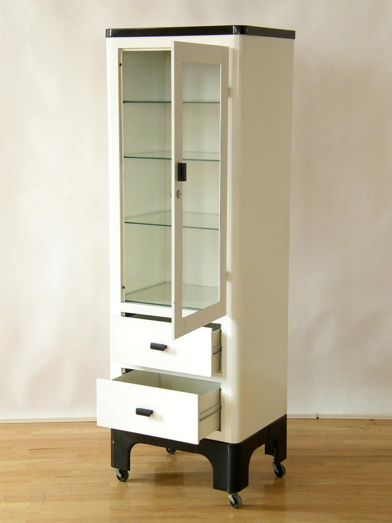 Tall 1930s Medical Storage Cabinet White And Black
