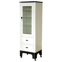 Tall 1930s Medical Storage Cabinet White and Black Enameled Steel Glass Door