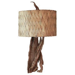 Tall 1960s Driftwood Lamp with Original Banana Leaf Shade