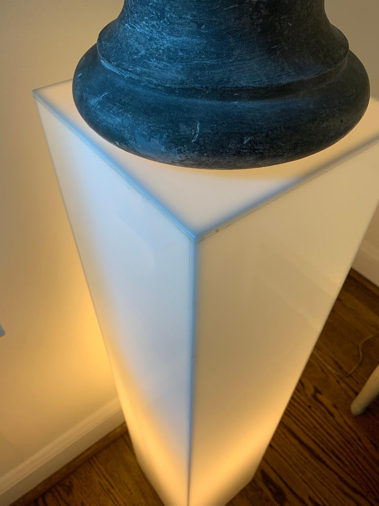 Tall 1970s Electrified White Lucite or Acrylic Pedestal Stand Display Column For Sale 5