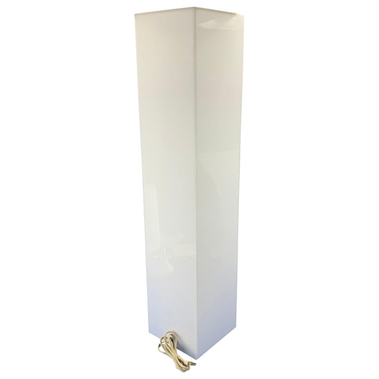 American Tall 1970s Electrified White Lucite or Acrylic Pedestal Stand Display Column For Sale