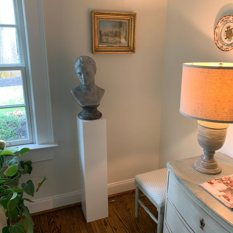 Brass Tall 1970s Electrified White Lucite or Acrylic Pedestal Stand Display Column For Sale