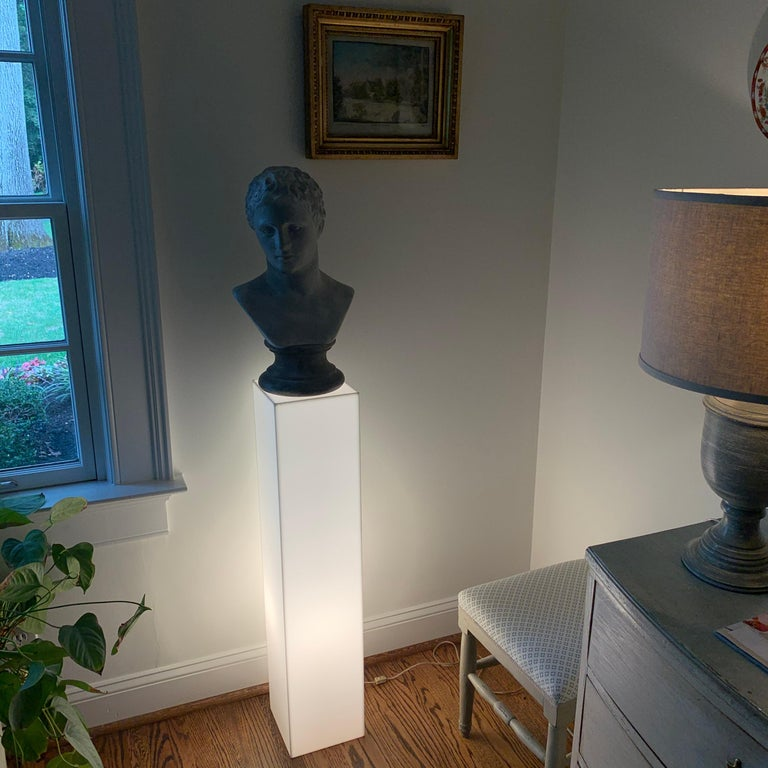 Tall 1970s Electrified White Lucite or Acrylic Pedestal Stand Display Column For Sale 1