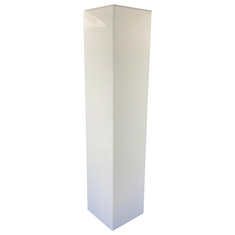 Tall 1970s Electrified White Lucite or Acrylic Pedestal Stand Display Column For Sale