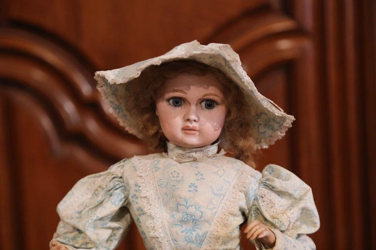 Fabric Tall 19th Century French Porcelain Musical Automaton Jumeau Doll For Sale