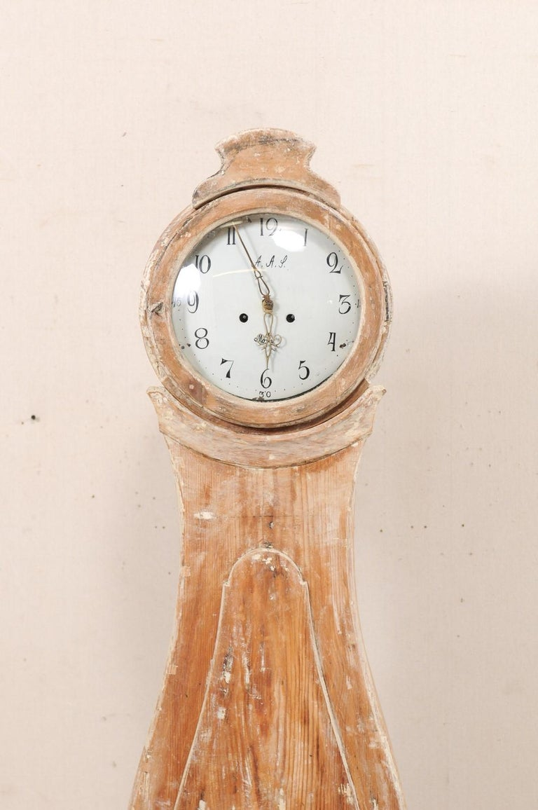Carved Tall 19th Century Swedish Painted Wood Floor Clock For Sale