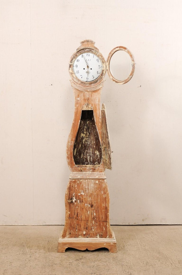 Metal Tall 19th Century Swedish Painted Wood Floor Clock For Sale