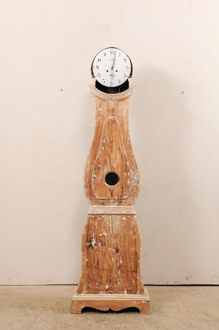 Tall 19th Century Swedish Painted Wood Floor Clock For Sale 1