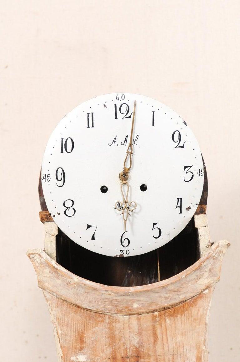 Tall 19th Century Swedish Painted Wood Floor Clock For Sale 2