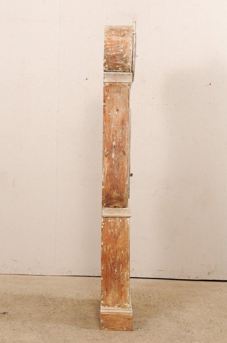 Tall 19th Century Swedish Painted Wood Floor Clock For Sale 3