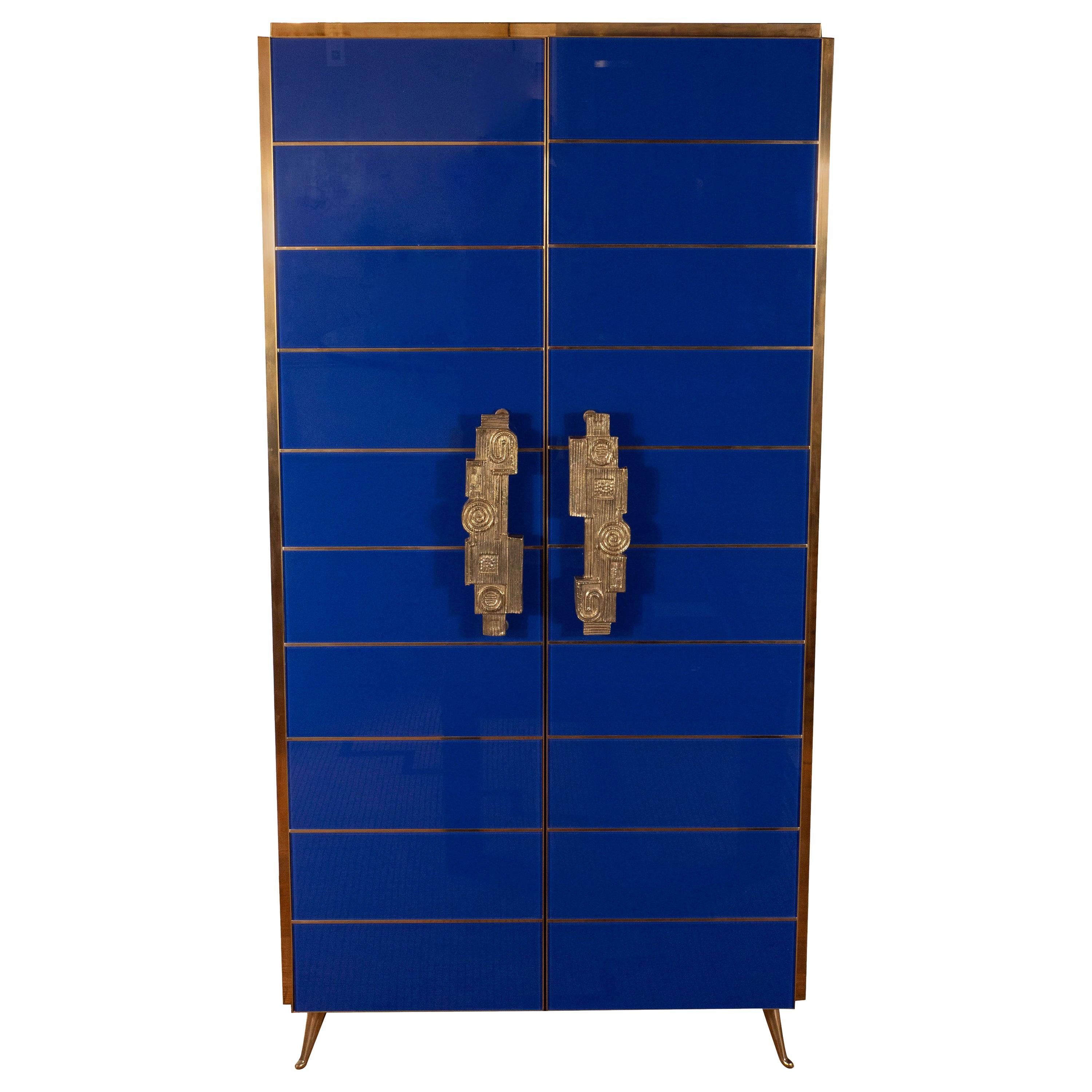 Tall 2-Door Cobalt Blue Glass with Brass Inlays Cabinet or Dry Bar, Italy