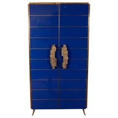 Tall 2-Door Cobalt Blue Glass with Brass Inlays Cabinet or Dry Bar, Italy, 2019